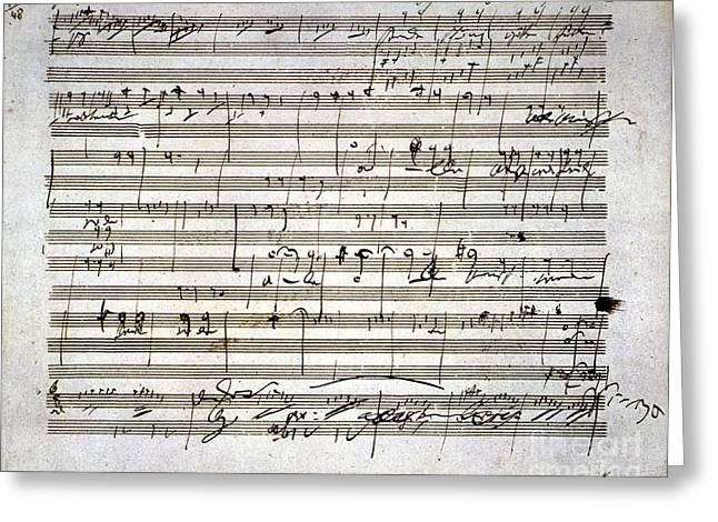 Composition Greeting Cards - Beethoven Manuscript Greeting Card by Granger