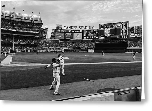 Behind The Dugout In Yankee Stadium Greeting Card by Mountain Dreams