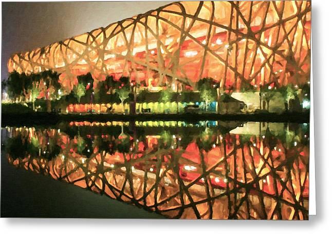 Stadium Scene Paintings Greeting Cards - Beijing National Stadium Greeting Card by Lanjee Chee