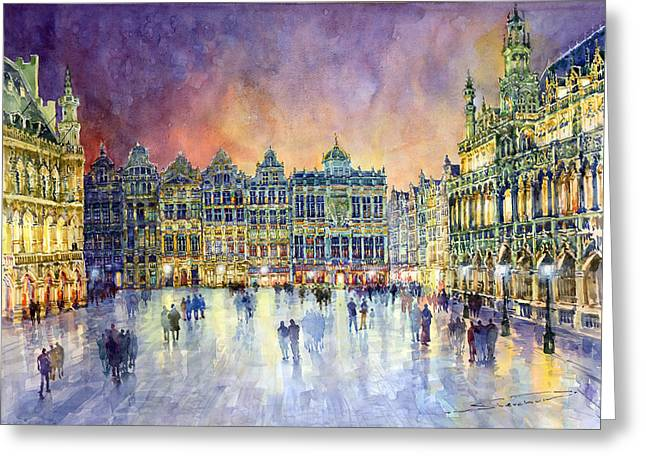 Streetscape Paintings Greeting Cards - Belgium Brussel Grand Place Grote Markt Greeting Card by Yuriy  Shevchuk