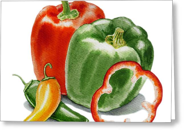 Bell Greeting Cards - Bell Peppers Jalapeno Greeting Card by Irina Sztukowski