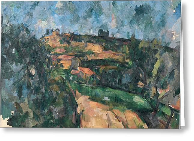 Bend Of The Road At The Top Of The Chemin Des Lauves  Greeting Card by Paul Cezanne