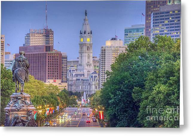 Downtown Franklin Greeting Cards - Benjamin Franklin Parkway City Hall Greeting Card by David  Zanzinger