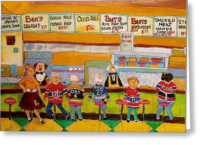 Hockey Paintings Greeting Cards - Bens  Restaurant Montreal Memories Greeting Card by Michael Litvack