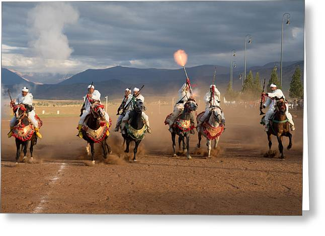 Weaponry Greeting Cards - Berber Horseman Firing Rifles Greeting Card by Panoramic Images