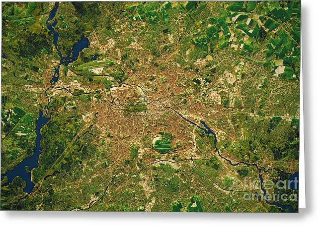Berlin City Topographic Map Natural Color  Greeting Card by Frank Ramspott