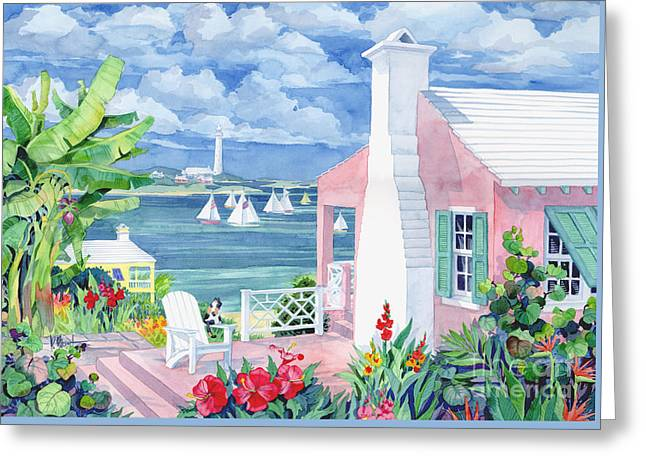 Recently Sold -  - Blue Sailboats Greeting Cards - Bermuda Cove Greeting Card by Paul Brent