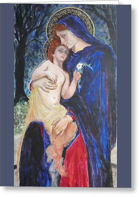 Child Jesus Greeting Cards - Between Mother and Son Greeting Card by Olga Dytyniak