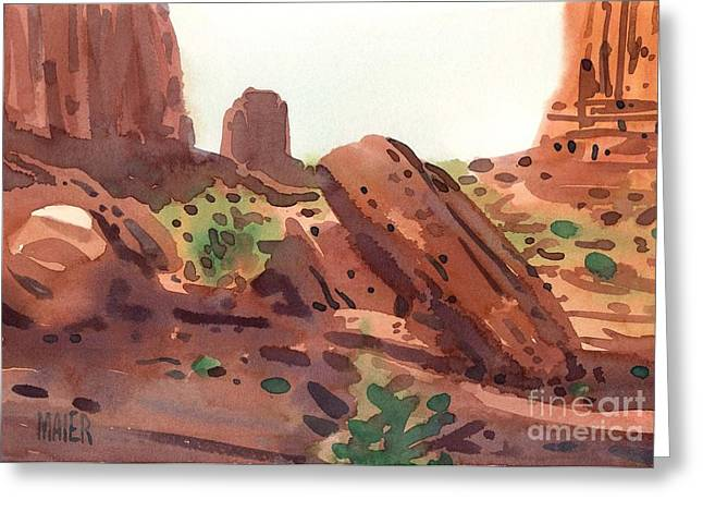Red Sandstone Greeting Cards - Between the Buttes Greeting Card by Donald Maier