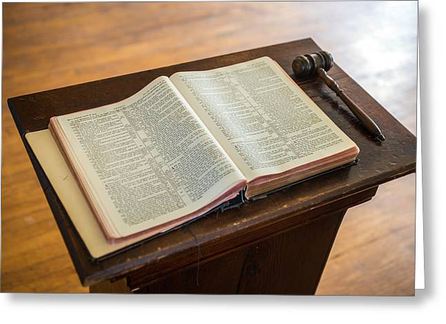 Bible And Gavel Greeting Card by Donald  Erickson