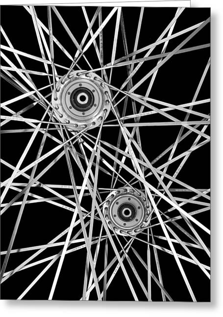 Bicycle Hubs And Spokes Greeting Card by Jim Hughes