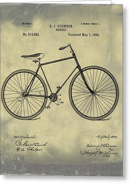 Bicycle Patent 1894 Blue Sepia Greeting Card by Bill Cannon