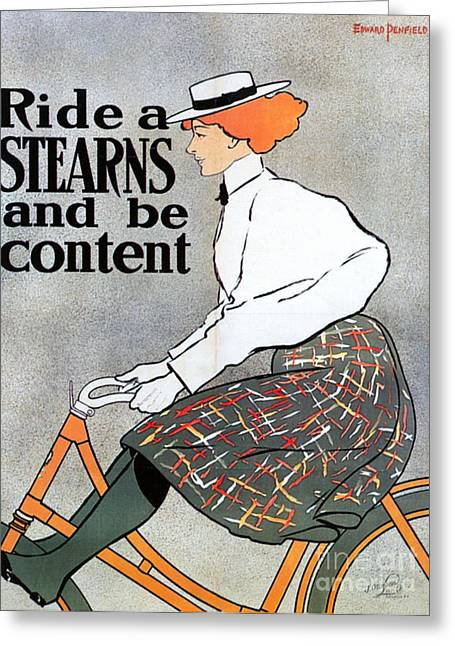 Stearns Greeting Cards - Bicycle Poster, 1896 Greeting Card by Granger