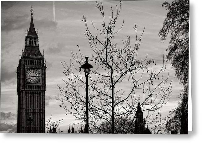 Large Clock Greeting Cards - Big Ben at Dusk Greeting Card by Reisehu