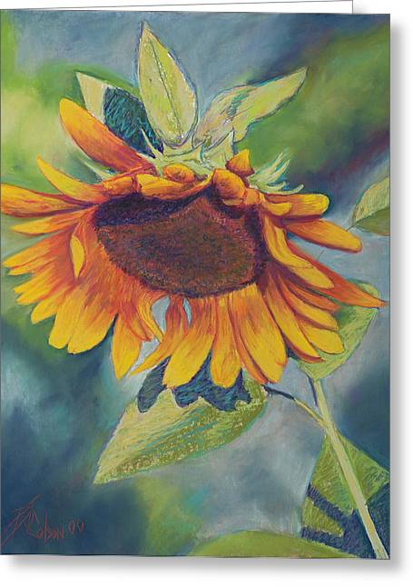 Sunflowers Pastels Greeting Cards - Big Sunflower Greeting Card by Billie Colson