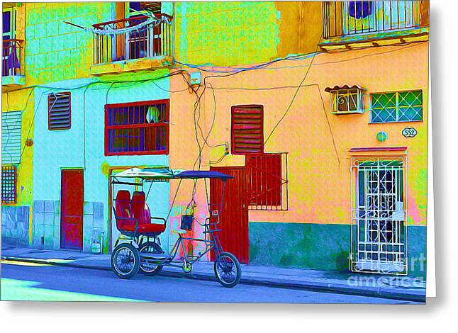 Old Door Mixed Media Greeting Cards - Bike Taxi - Havana Cuba Greeting Card by Chris Andruskiewicz