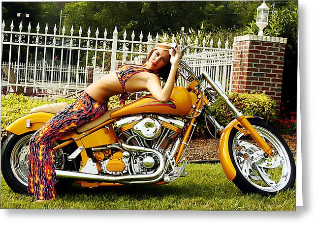 Bikes and Babes Greeting Card by Clayton Bruster