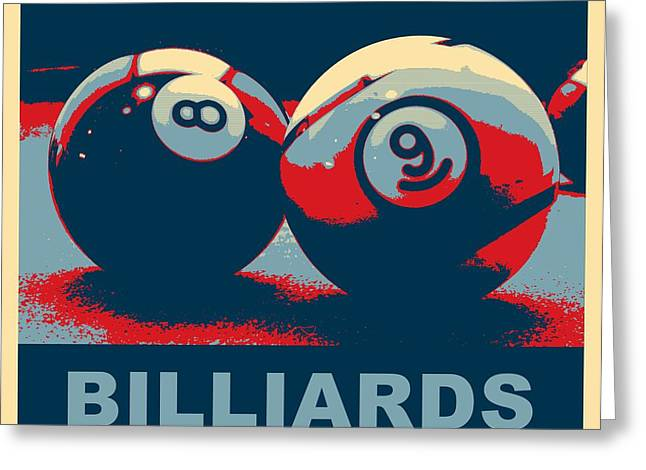 Billiards Digital Greeting Cards - Billiards Pop Art 2 Greeting Card by David G Paul