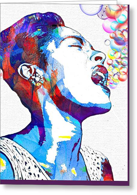 Rhythm And Blues Mixed Media Greeting Cards - Billie Holiday Greeting Card by Vel Verrept