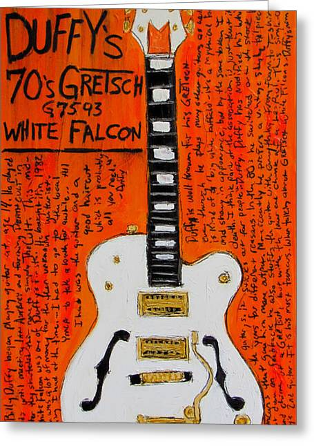 Billy Duffy Gretsch White Falcon Greeting Card by Karl Haglund