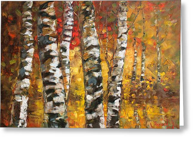 Autumn Landscape Paintings Greeting Cards - Birch trees in Golden Fall Greeting Card by Ylli Haruni