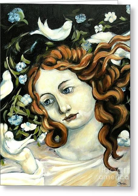 Carrie Joy Byrnes Greeting Cards - Bird Lady Greeting Card by Carrie Joy Byrnes