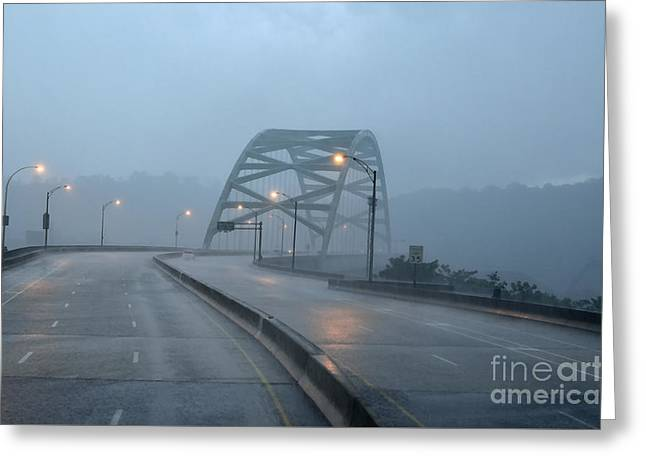 Street Scene Digital Greeting Cards - Birmingham Bridge Downpour Greeting Card by Thomas R Fletcher