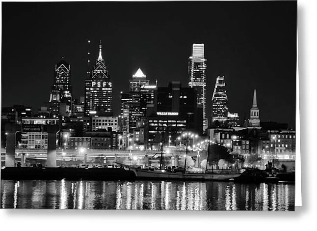 Black And White Cityscape - Philadelphia Greeting Card by Bill Cannon