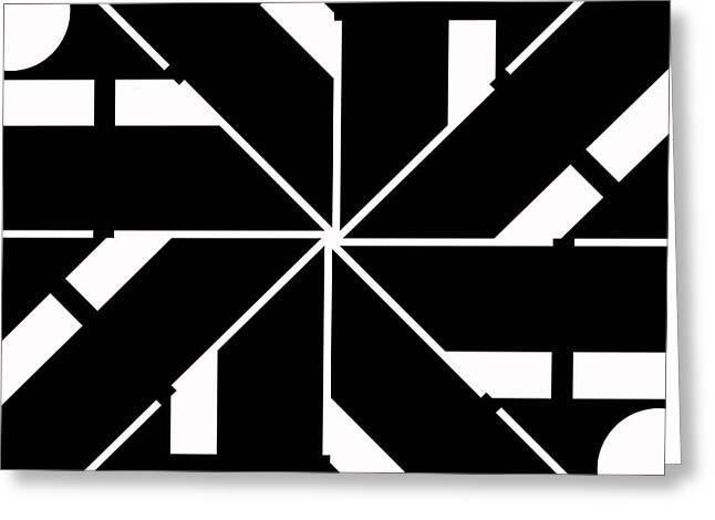 Geometrical Art Greeting Cards - Black and White Geometric Greeting Card by David G Paul