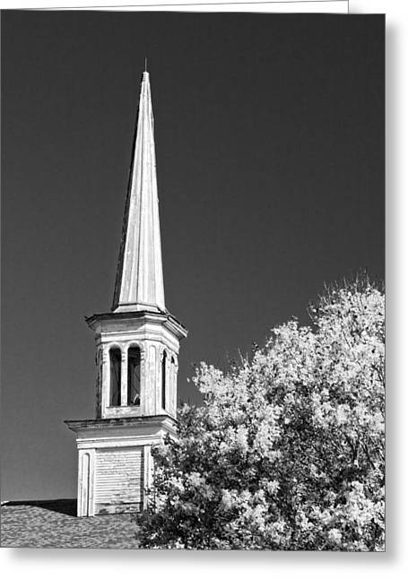 Country Church Greeting Cards - Black and White Old Country Church Greeting Card by Keith Webber Jr