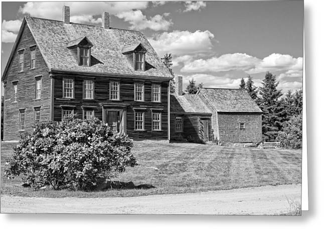 Maine Farmhouse Digital Greeting Cards - Black and White Photograph of Olsen House Cushing Maine Greeting Card by Keith Webber Jr