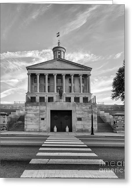 Capital Building In Nashville Tennessee Greeting Cards - Black and White photography print of the State Capital building of Nashville Tennessee at sunrise  Greeting Card by Jeremy Holmes
