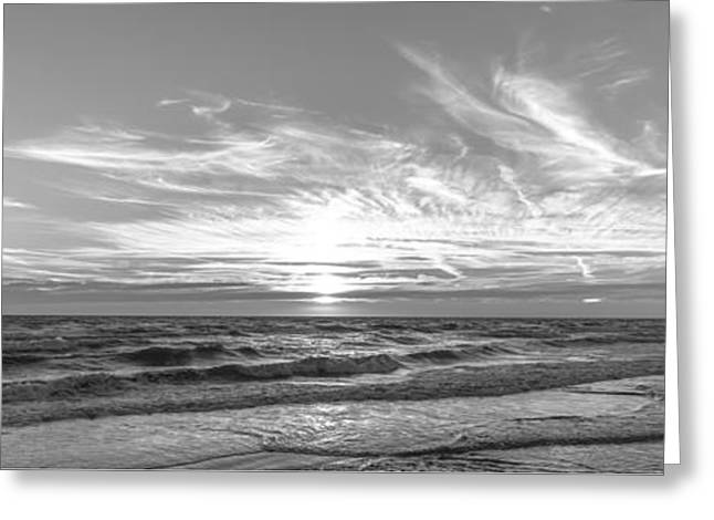 Foggy Beach Greeting Cards - Black and White Sunset Greeting Card by Alex Hiemstra
