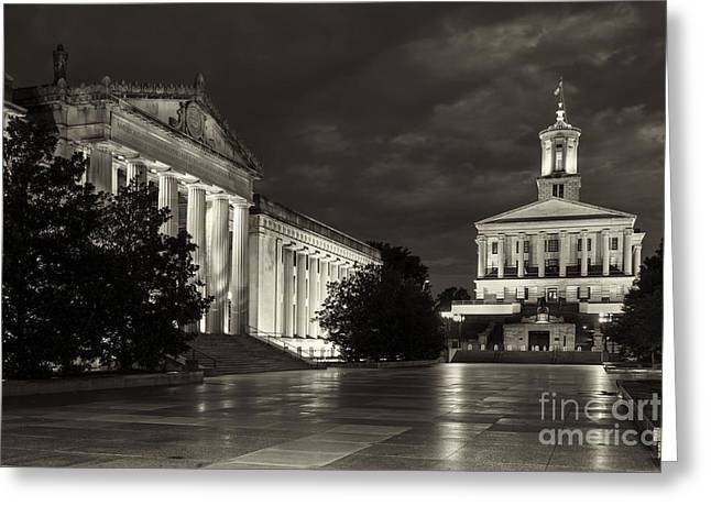 Tennessee Landmark Greeting Cards - Black and white War Memorial Building and Legislative Plaza with capital building in Nashville TN  Greeting Card by Jeremy Holmes