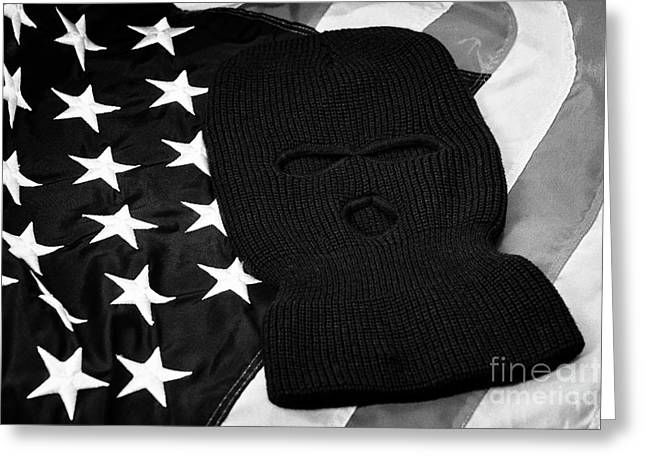 Balaclava Greeting Cards - Black Balaclava Ski Mask Lying On United States Of America Flag Greeting Card by Joe Fox