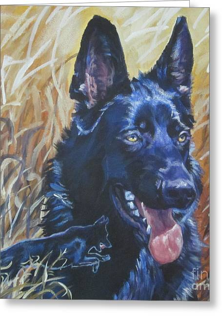 German Shepard Dogs Greeting Cards - Black German Shepherd Greeting Card by Lee Ann Shepard