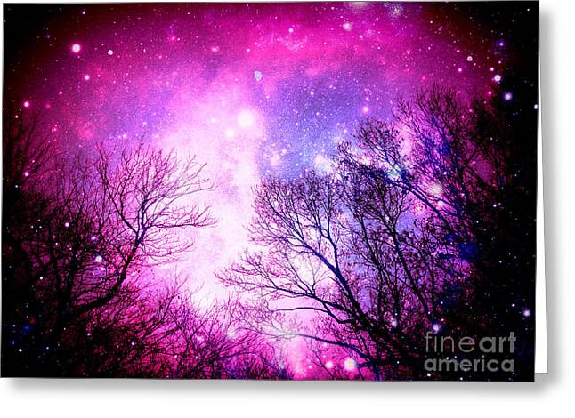 Intergalactic Space Greeting Cards - Black Trees Pink Space Greeting Card by Johari Smith