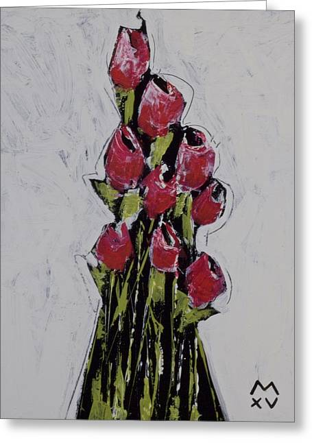 Cubist Mixed Media Greeting Cards - BLOOM No. 1  Greeting Card by Mark M  Mellon