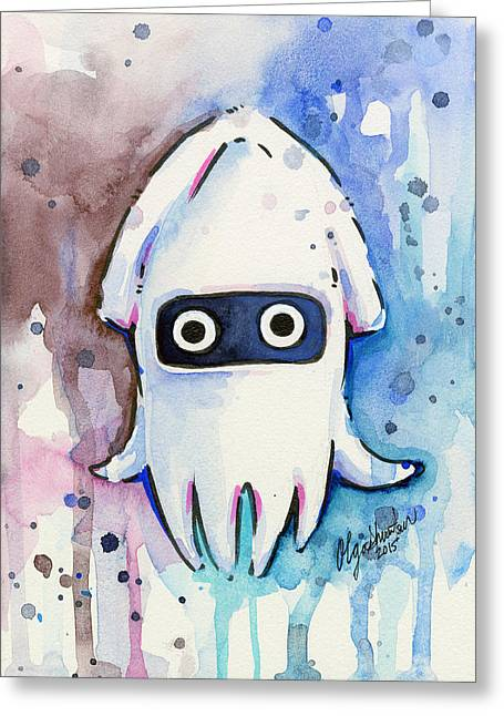 Game Mixed Media Greeting Cards - Blooper Watercolor Greeting Card by Olga Shvartsur