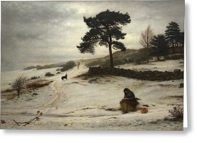 Pre-19th Greeting Cards - Blow Blow Thou Winter Wind Greeting Card by John Everett Millais