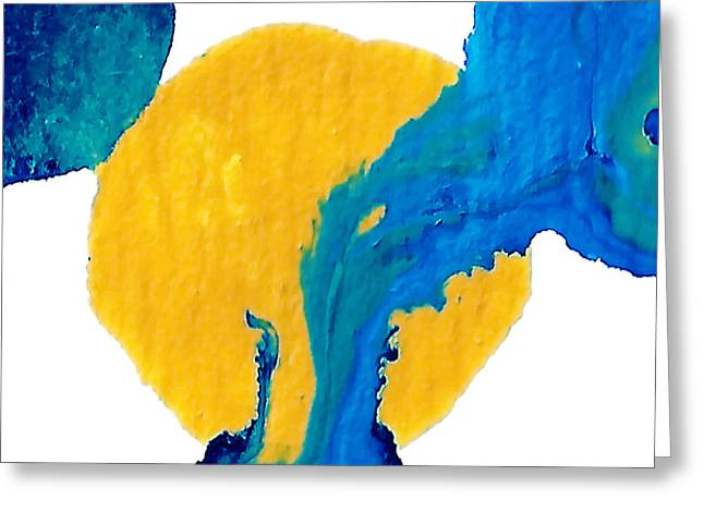 Abstract Landscape Greeting Cards - Blue and yellow Interactions  Greeting Card by Amy Vangsgard