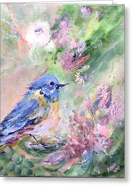 Blue Bird Bouquet Greeting Card by Ann Wall