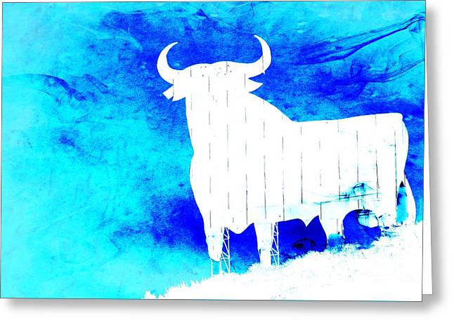 Andalucia Mixed Media Greeting Cards - Blue Greeting Card by Clare Bevan