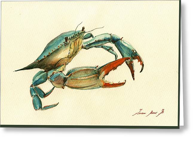 Crab Greeting Cards - Blue Crab painting Greeting Card by Juan  Bosco