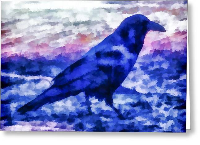 Blue Crow Greeting Card by Priya Ghose