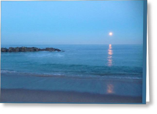 Moon Set Greeting Cards - Study in Blue Greeting Card by Art Block Collections