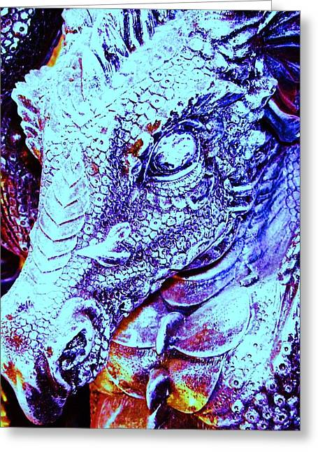 Drachen Greeting Cards - Blue-Dragon Greeting Card by Ramon Labusch
