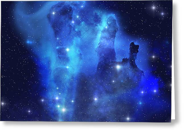 Eagle Nebula Greeting Cards - Blue Eagle Nebula Greeting Card by Corey Ford