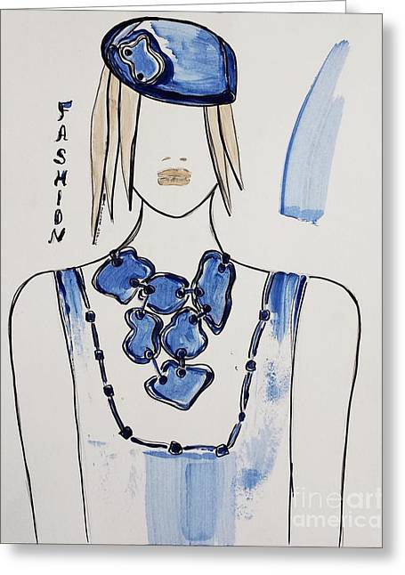 Art Book Greeting Cards - Blue Fashion Greeting Card by Jasna Gopic