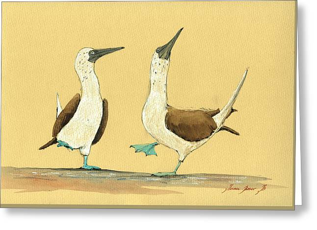 Galapagos Birds Greeting Cards - Blue footed boobies Greeting Card by Juan  Bosco